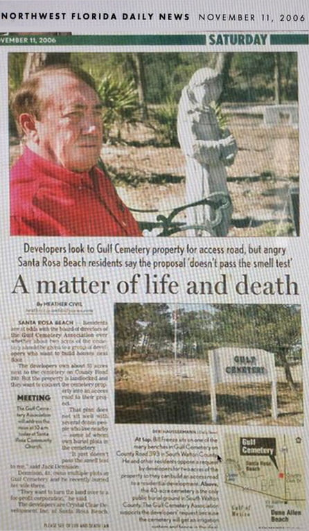 Gulf Cemetery Article in the Northwest Florida Daily News