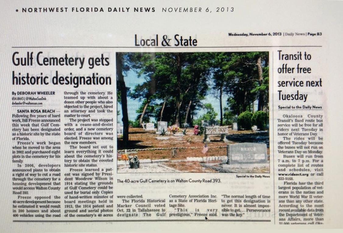 Gulf Cemetery gets historic designation